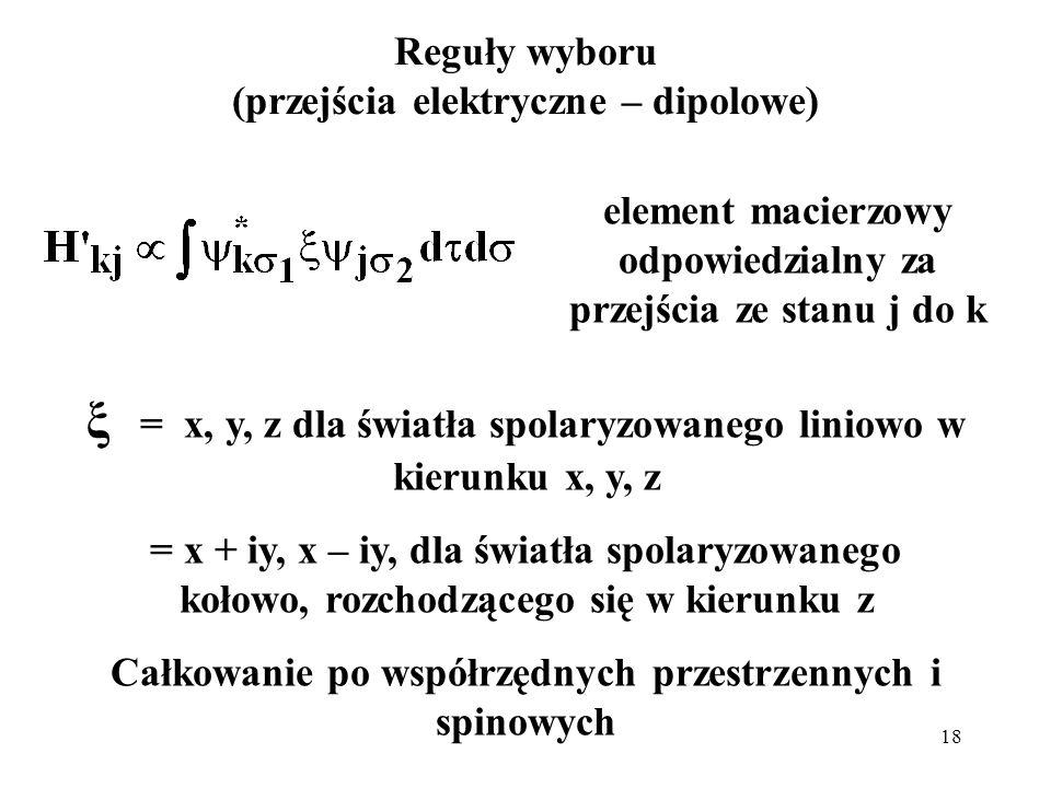18 Reguły wyboru (przejścia elektryczne – dipolowe) ξ = x, y, z dla światła spolaryzowanego liniowo w kierunku x, y, z = x + iy, x – iy, dla światła s