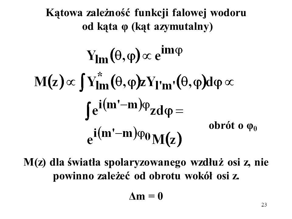 23 Kątowa zależność funkcji falowej wodoru od kąta φ (kąt azymutalny) M(z) dla światła spolaryzowanego wzdłuż osi z, nie powinno zależeć od obrotu wok