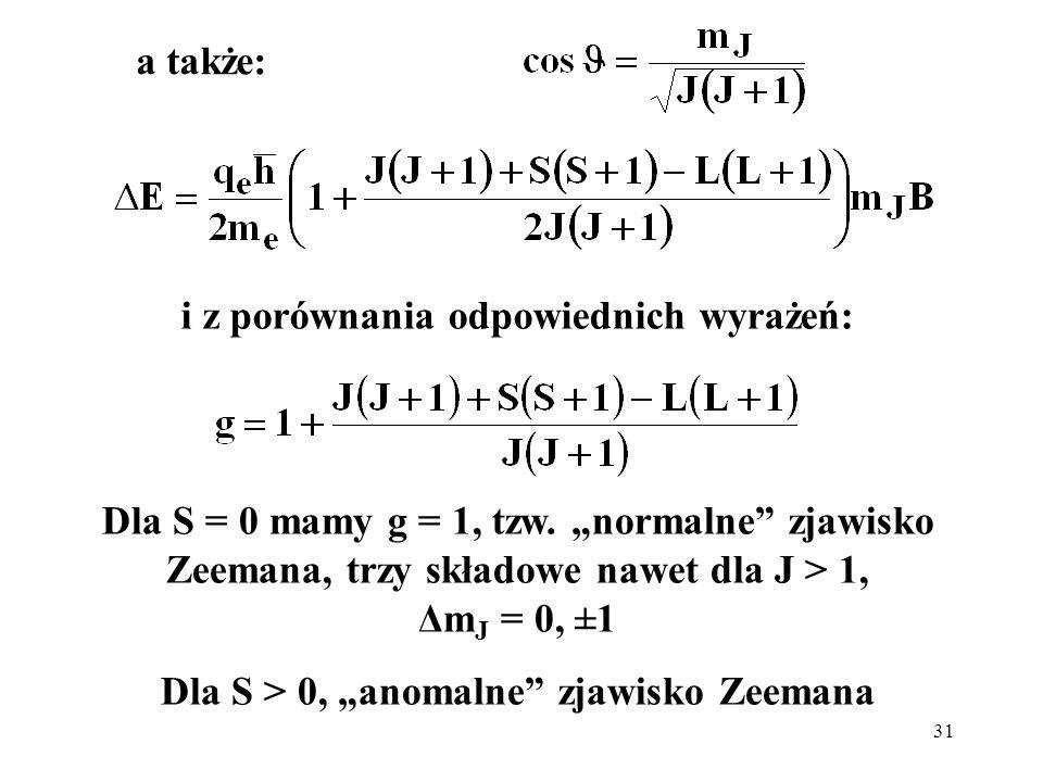 31 a także: i z porównania odpowiednich wyrażeń: Dla S = 0 mamy g = 1, tzw. normalne zjawisko Zeemana, trzy składowe nawet dla J > 1, Δm J = 0, ±1 Dla