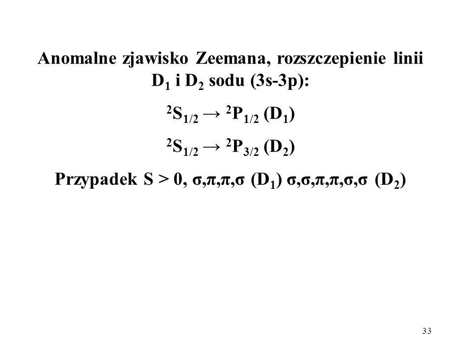 33 Anomalne zjawisko Zeemana, rozszczepienie linii D 1 i D 2 sodu (3s-3p): 2 S 1/2 2 P 1/2 (D 1 ) 2 S 1/2 2 P 3/2 (D 2 ) Przypadek S > 0, σ,π,π,σ (D 1