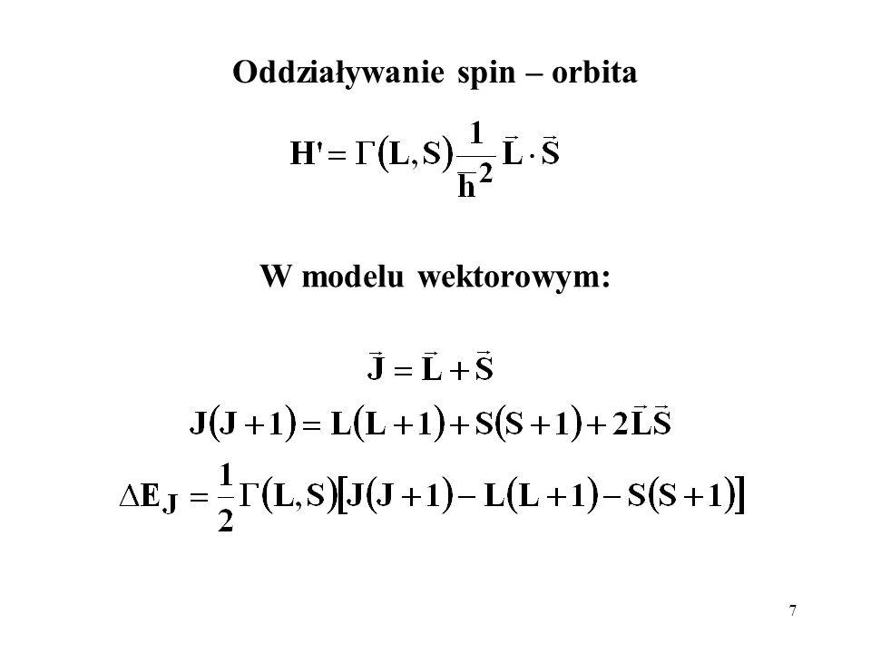 7 Oddziaływanie spin – orbita W modelu wektorowym: