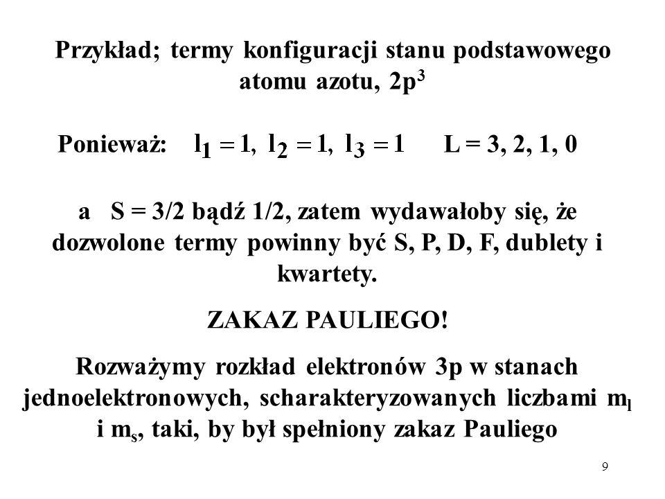 9 Przykład; termy konfiguracji stanu podstawowego atomu azotu, 2p 3 Ponieważ:L = 3, 2, 1, 0 a S = 3/2 bądź 1/2, zatem wydawałoby się, że dozwolone ter