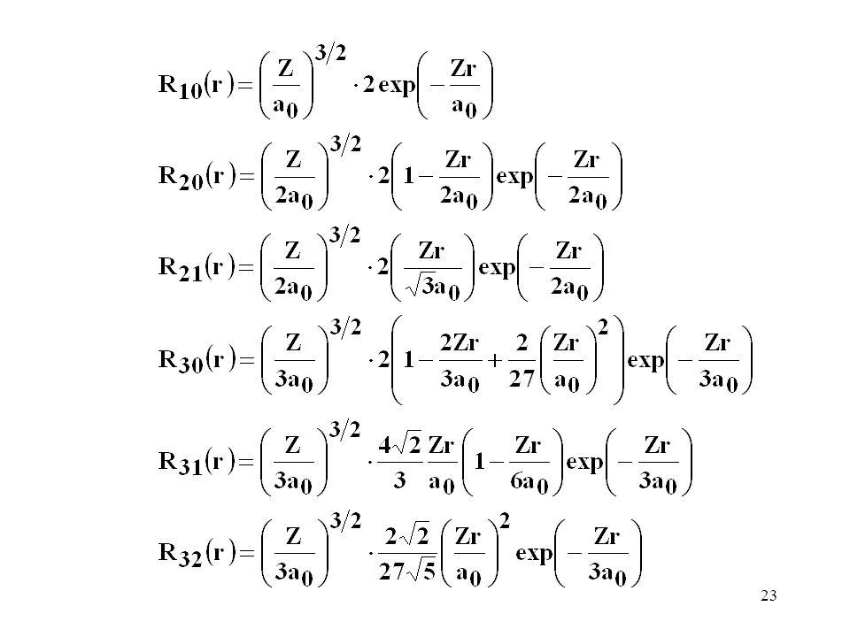 24 Radialna gęstość prawdopodobieństwa dla elektronów 3s, 3p i 3d w atomie H Choć średnio elektron 3s jest dalej od jądra, prawdopodobieństwo znalezienia go w obszarze bliskim jądra jest większe niż dla elektronu 3p i 3d
