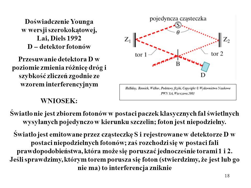 18 Halliday, Resnick, Walker, Podstawy fizyki, Copyright © Wydawnictwo Naukowe PWN SA, Warszawa 2003 Doświadczenie Younga w wersji szerokokątowej, Lai