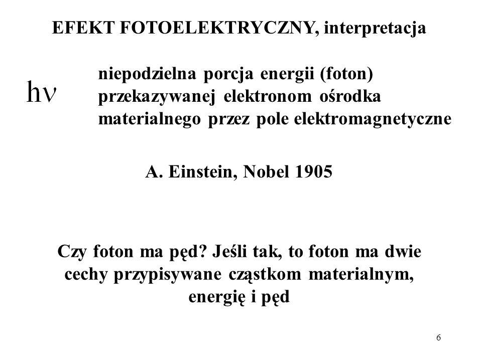 6 EFEKT FOTOELEKTRYCZNY, interpretacja niepodzielna porcja energii (foton) przekazywanej elektronom ośrodka materialnego przez pole elektromagnetyczne