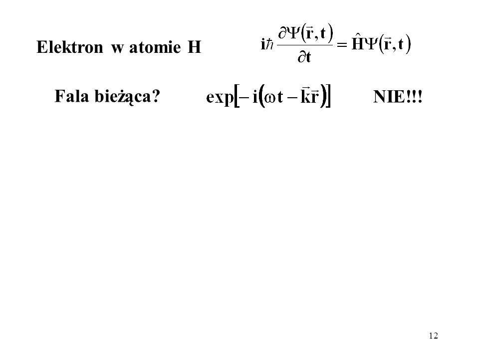 12 Fala bieżąca? Elektron w atomie H NIE!!!