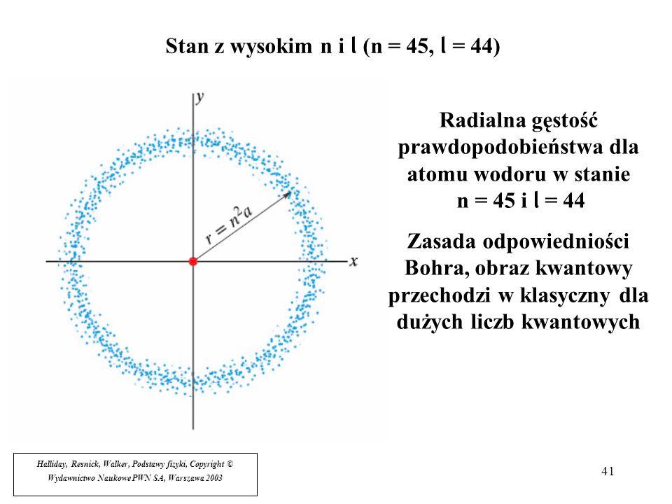 41 Stan z wysokim n i l (n = 45, l = 44) Halliday, Resnick, Walker, Podstawy fizyki, Copyright © Wydawnictwo Naukowe PWN SA, Warszawa 2003 Radialna gę