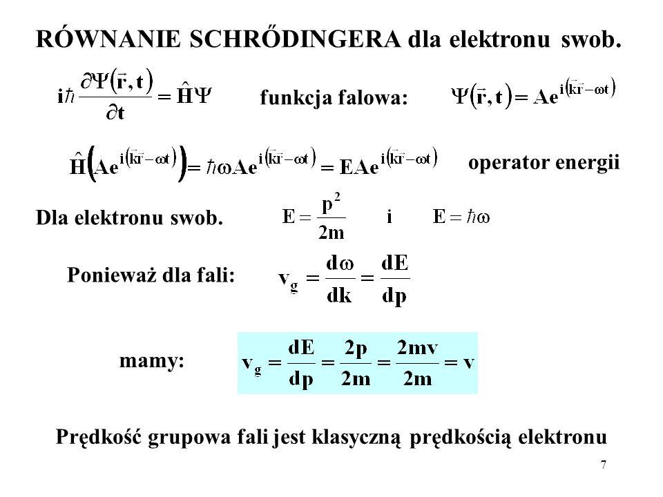 7 RÓWNANIE SCHRŐDINGERA dla elektronu swob. funkcja falowa: Dla elektronu swob. operator energii Ponieważ dla fali: mamy: Prędkość grupowa fali jest k