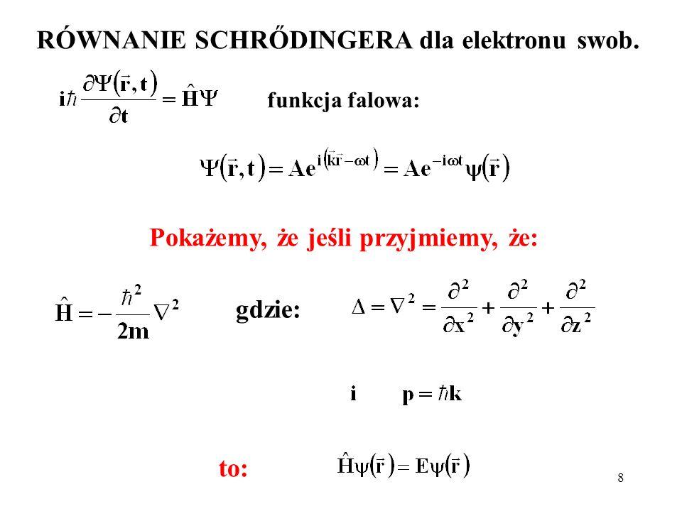 8 RÓWNANIE SCHRŐDINGERA dla elektronu swob. funkcja falowa: Pokażemy, że jeśli przyjmiemy, że: gdzie: to: