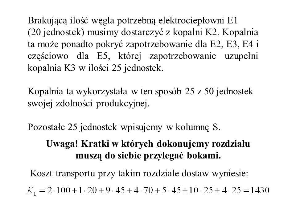 Brakującą ilość węgla potrzebną elektrociepłowni E1 (20 jednostek) musimy dostarczyć z kopalni K2.