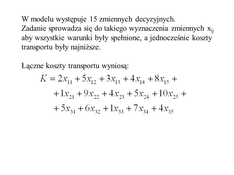 W modelu występuje 15 zmiennych decyzyjnych. Zadanie sprowadza się do takiego wyznaczenia zmiennych x ij aby wszystkie warunki były spełnione, a jedno