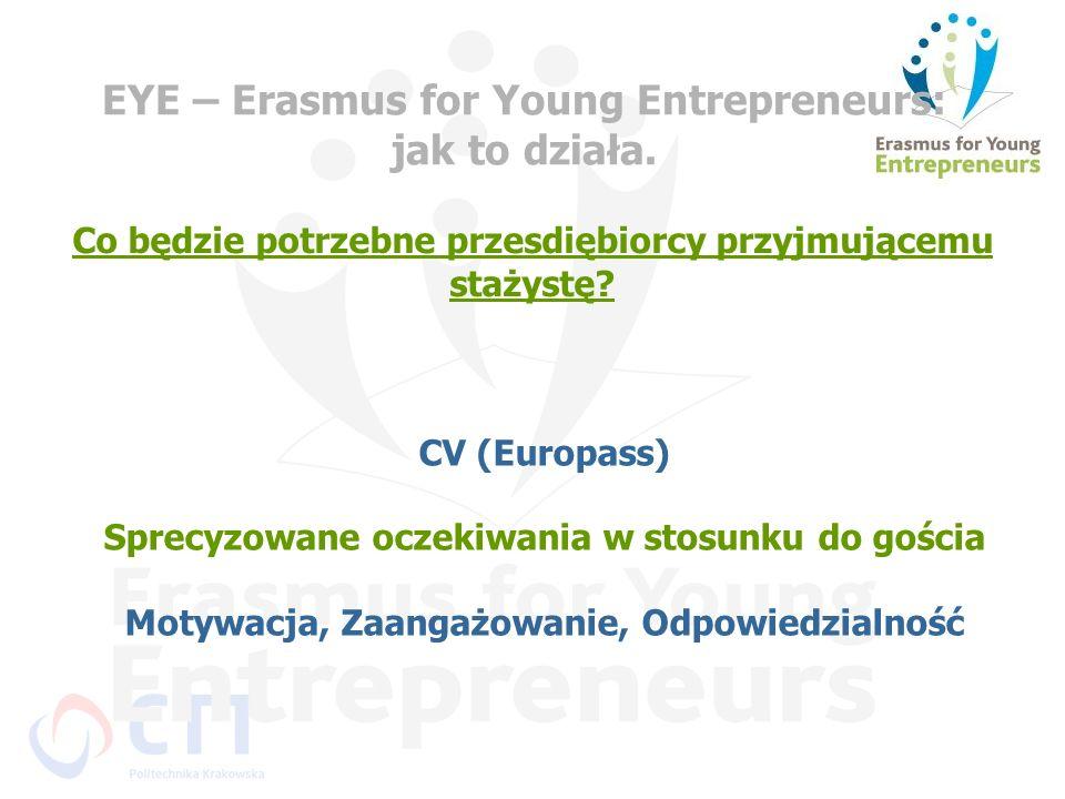 EYE – Erasmus for Young Entrepreneurs: jak to działa. Co będzie potrzebne przesdiębiorcy przyjmującemu stażystę? CV (Europass) Sprecyzowane oczekiwani