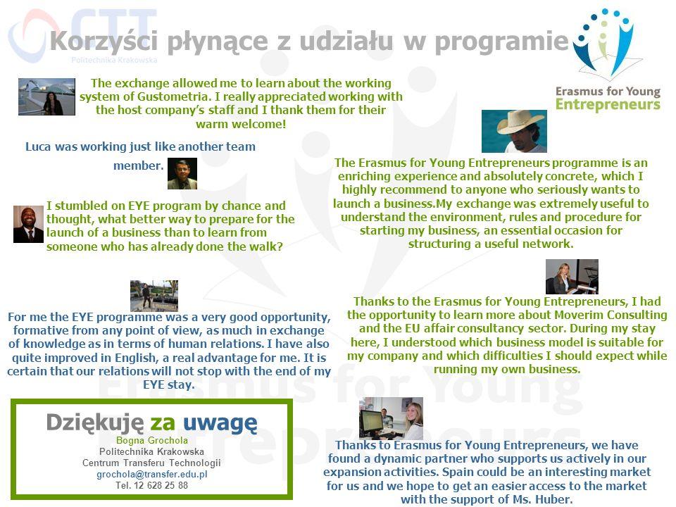 Dziękuję za uwagę Bogna Grochola Politechnika Krakowska Centrum Transferu Technologii grochola@transfer.edu.pl Tel. 12 628 25 88 Thanks to the Erasmus