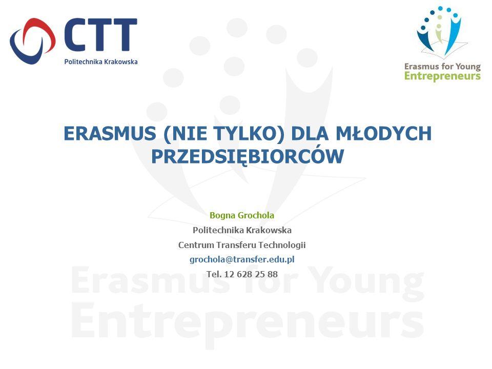 ERASMUS (NIE TYLKO) DLA MŁODYCH PRZEDSIĘBIORCÓW Bogna Grochola Politechnika Krakowska Centrum Transferu Technologii grochola@transfer.edu.pl Tel. 12 6