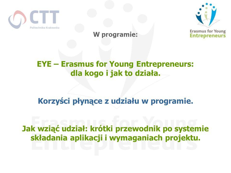 W programie: EYE – Erasmus for Young Entrepreneurs: dla kogo i jak to działa. Korzyści płynące z udziału w programie. Jak wziąć udział: krótki przewod