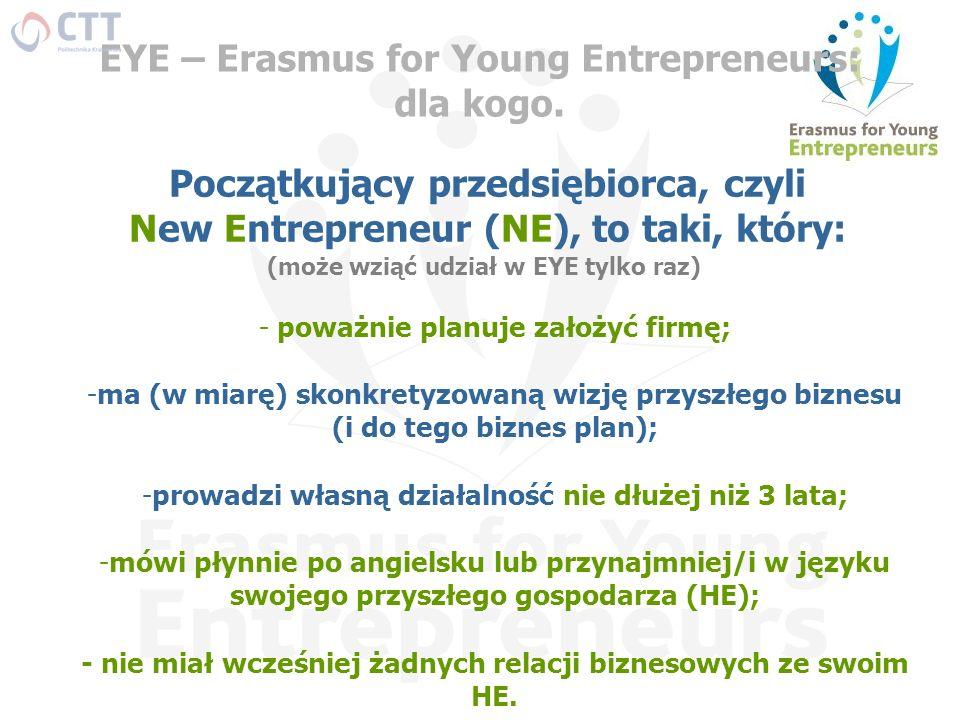 EYE – Erasmus for Young Entrepreneurs: dla kogo. Początkujący przedsiębiorca, czyli New Entrepreneur (NE), to taki, który: - poważnie planuje założyć