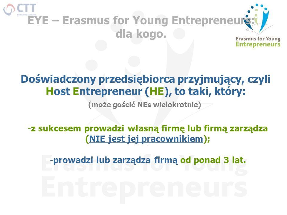 EYE – Erasmus for Young Entrepreneurs: dla kogo. Doświadczony przedsiębiorca przyjmujący, czyli Host Entrepreneur (HE), to taki, który: -z sukcesem pr