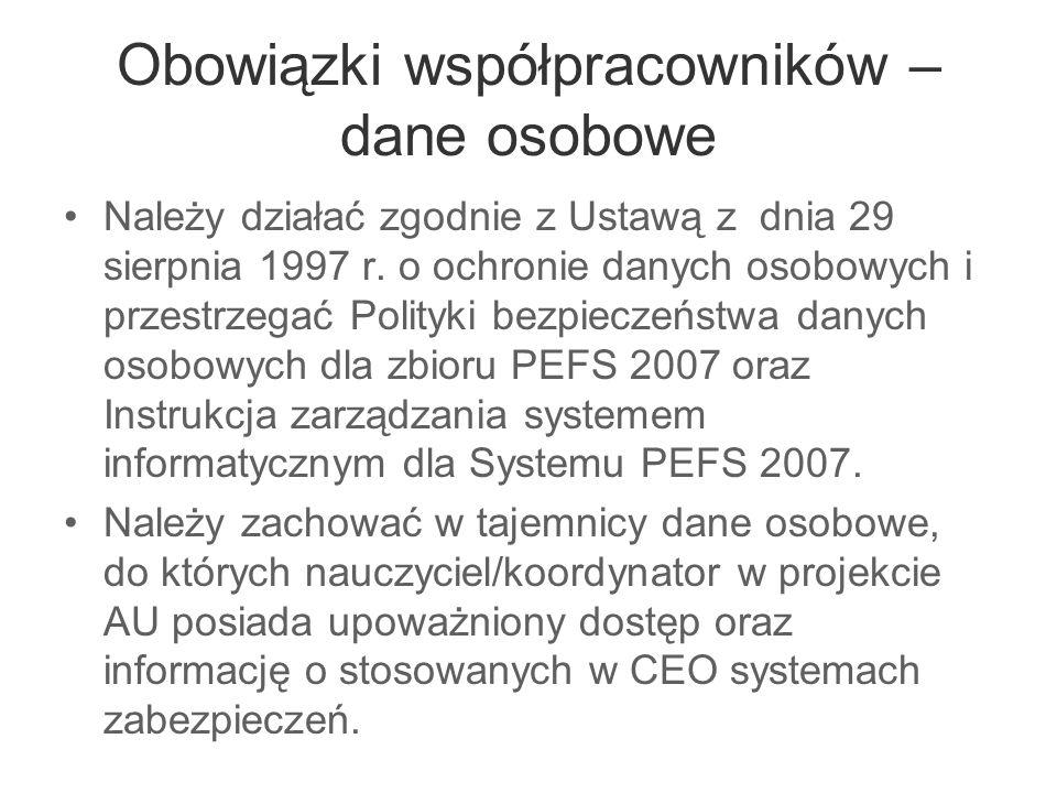 Obowiązki współpracowników – dane osobowe Należy działać zgodnie z Ustawą z dnia 29 sierpnia 1997 r. o ochronie danych osobowych i przestrzegać Polity
