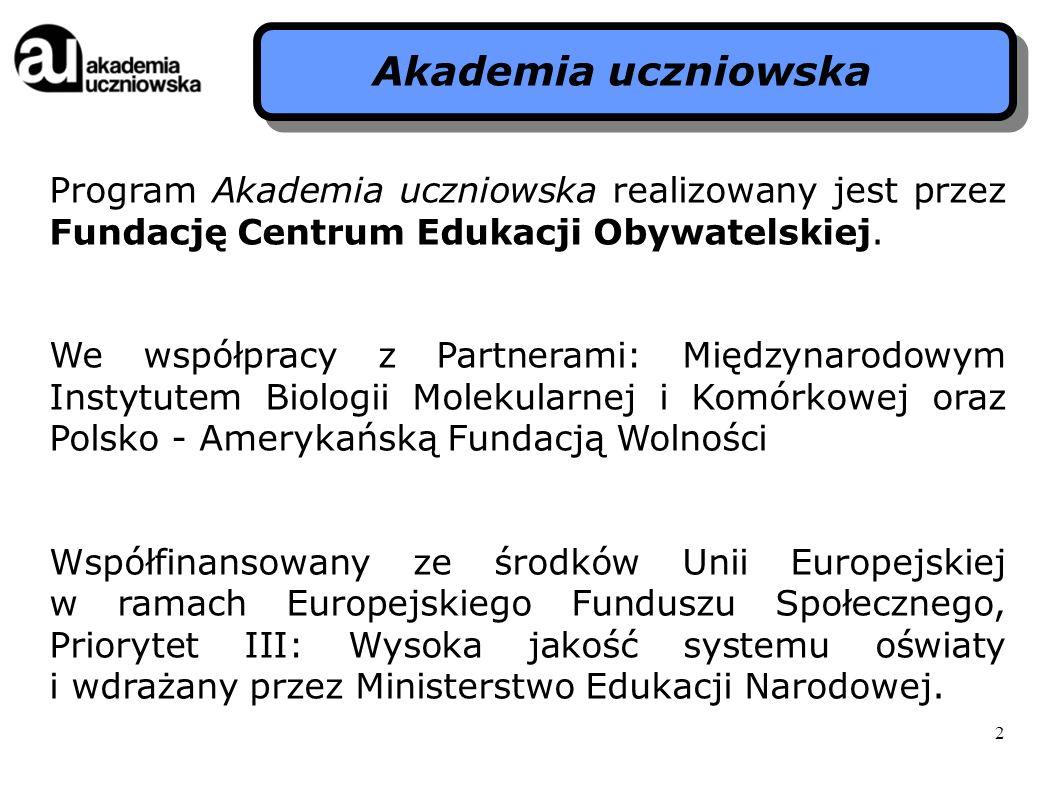 Program Akademia uczniowska realizowany jest przez Fundację Centrum Edukacji Obywatelskiej. We współpracy z Partnerami: Międzynarodowym Instytutem Bio