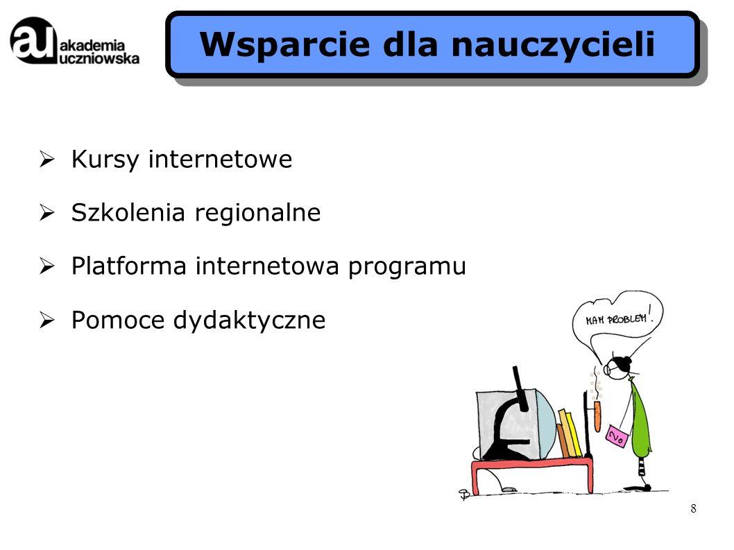 Kursy internetowe Szkolenia regionalne Platforma internetowa programu Pomoce dydaktyczne Wsparcie dla nauczycieli 8