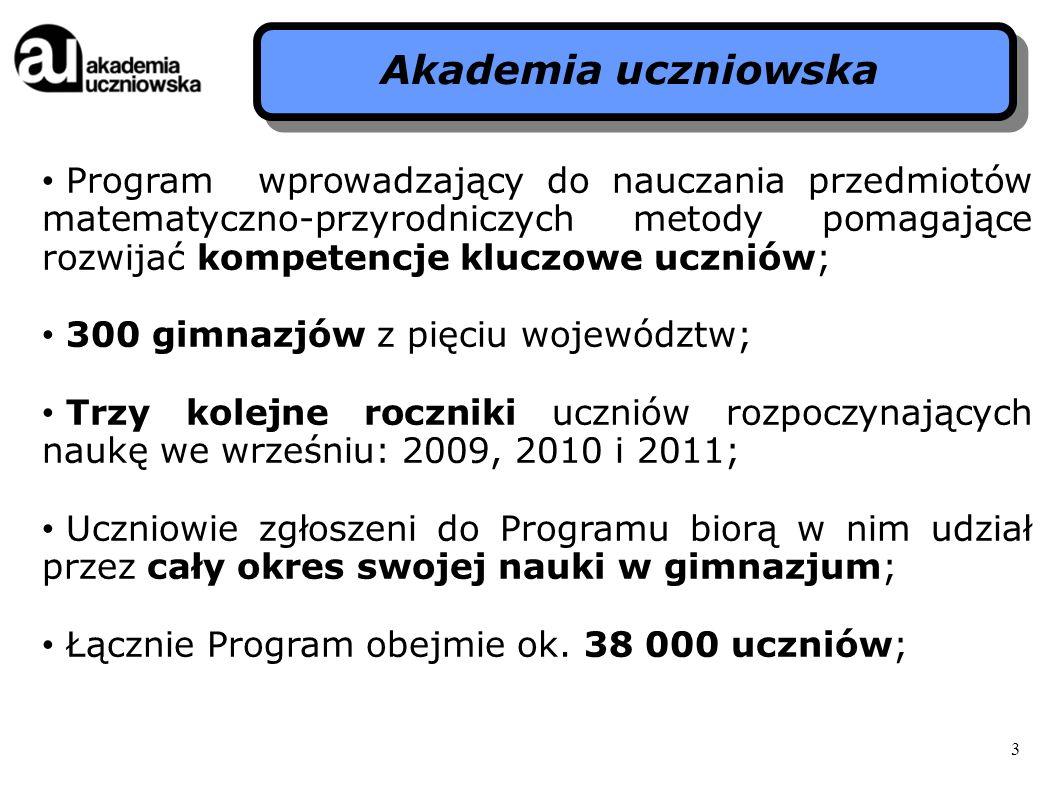 3 Program wprowadzający do nauczania przedmiotów matematyczno-przyrodniczych metody pomagające rozwijać kompetencje kluczowe uczniów; 300 gimnazjów z