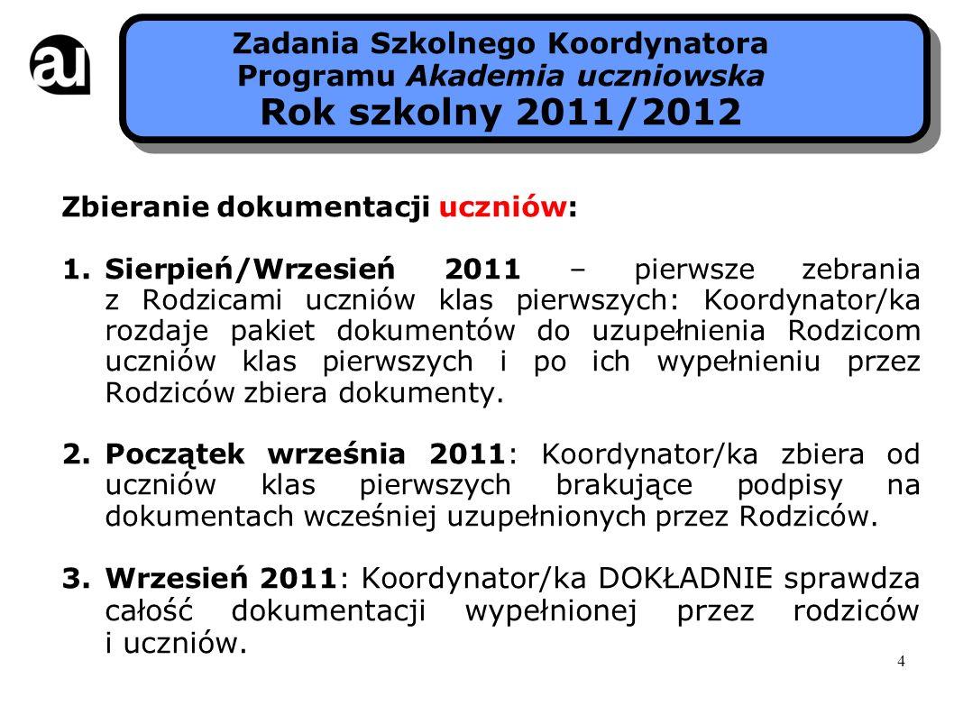 Zbieranie dokumentacji uczniów: 1.Sierpień/Wrzesień 2011 – pierwsze zebrania z Rodzicami uczniów klas pierwszych: Koordynator/ka rozdaje pakiet dokume