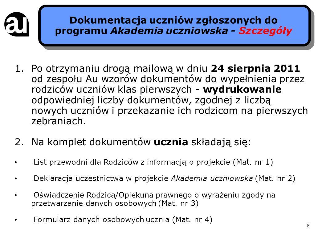 888 Dokumentacja uczniów zgłoszonych do programu Akademia uczniowska - Szczegóły 1.Po otrzymaniu drogą mailową w dniu 24 sierpnia 2011 od zespołu Au w