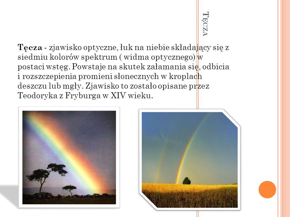T ĘCZA Tęcza - zjawisko optyczne, łuk na niebie składający się z siedmiu kolorów spektrum ( widma optycznego) w postaci wstęg. Powstaje na skutek zała