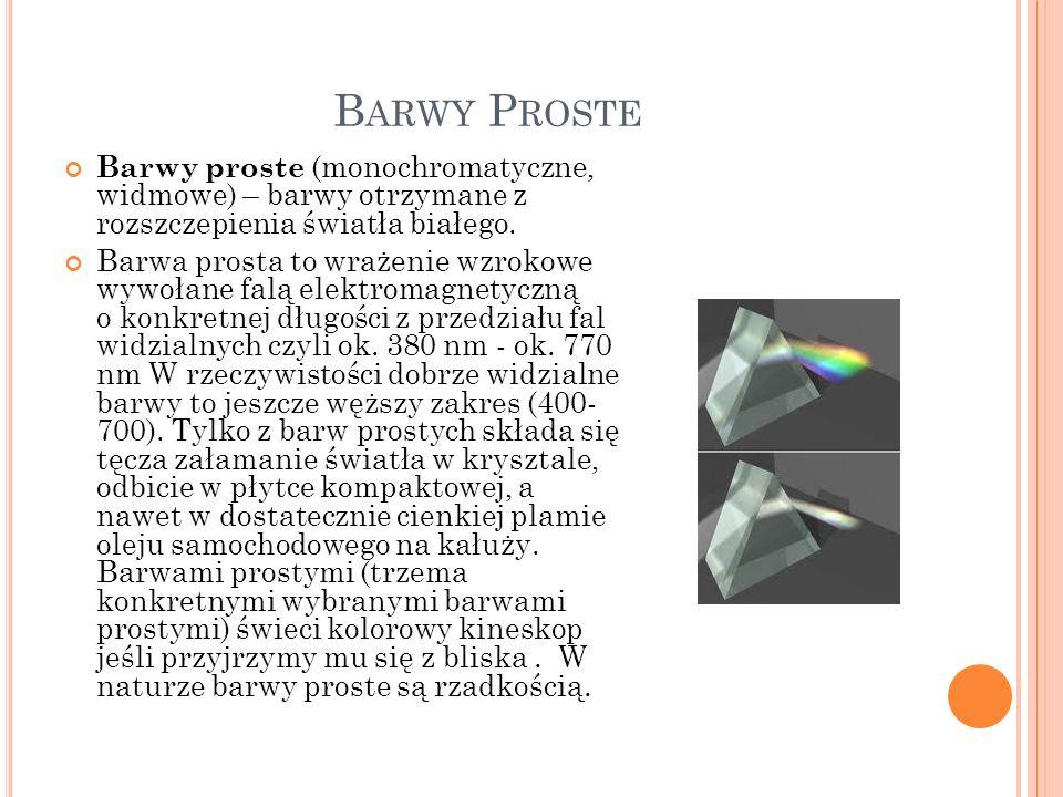 B ARWY P ROSTE Barwy proste (monochromatyczne, widmowe) – barwy otrzymane z rozszczepienia światła białego. Barwa prosta to wrażenie wzrokowe wywołane