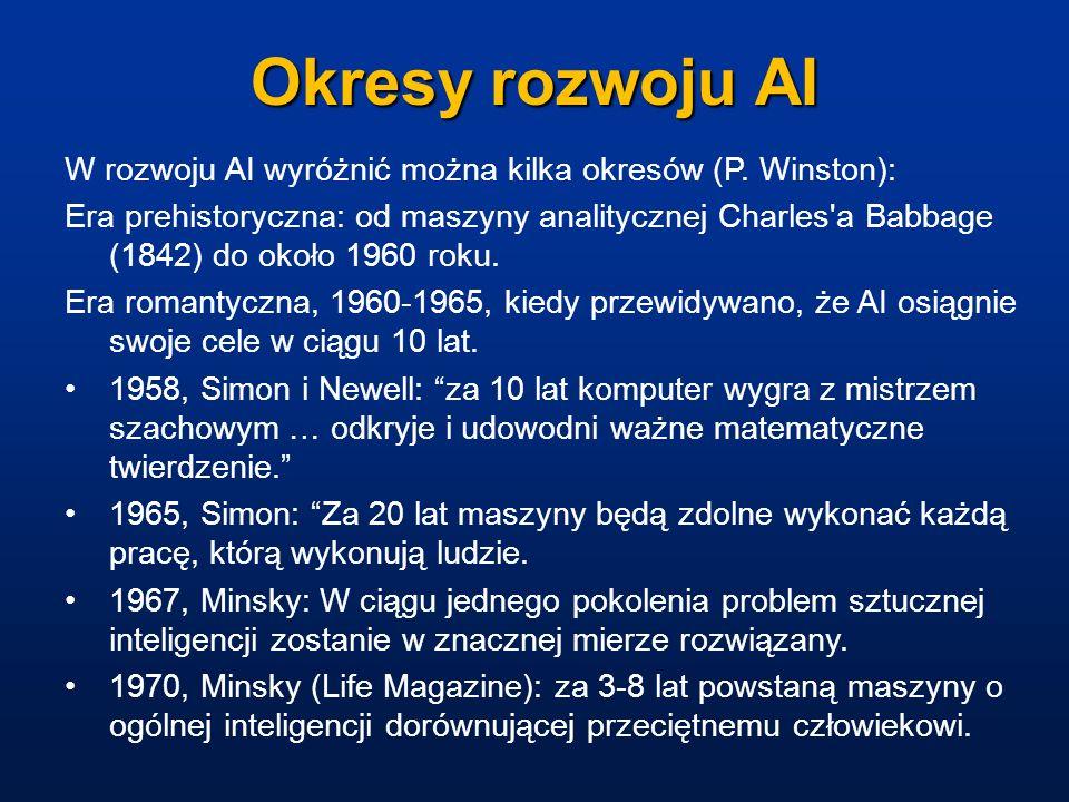 Okresy rozwoju AI W rozwoju AI wyróżnić można kilka okresów (P. Winston): Era prehistoryczna: od maszyny analitycznej Charles'a Babbage (1842) do okoł