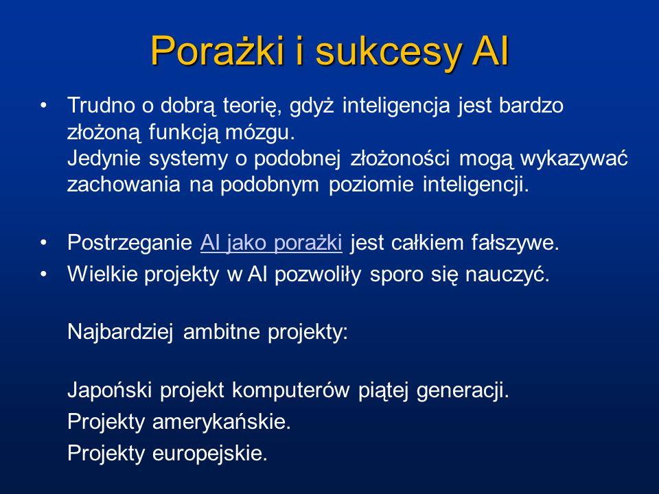 Porażki i sukcesy AI Trudno o dobrą teorię, gdyż inteligencja jest bardzo złożoną funkcją mózgu. Jedynie systemy o podobnej złożoności mogą wykazywać