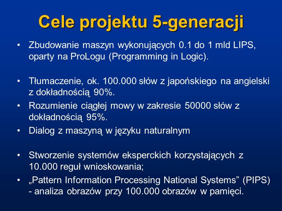 Cele projektu 5-generacji Zbudowanie maszyn wykonujących 0.1 do 1 mld LIPS, oparty na ProLogu (Programming in Logic). Tłumaczenie, ok. 100.000 słów z