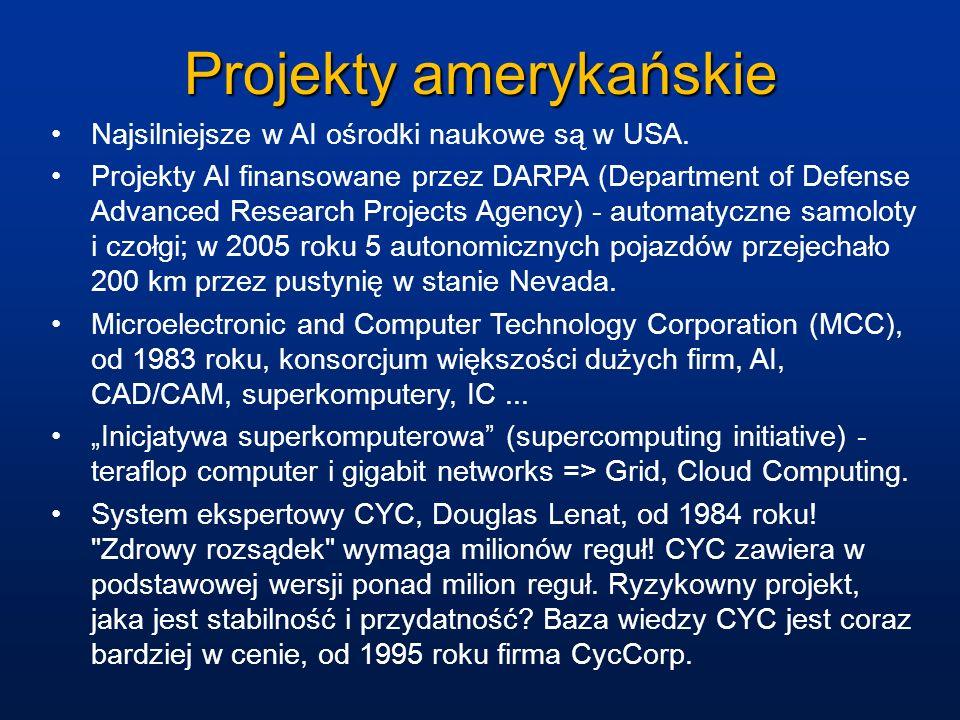 Projekty amerykańskie Najsilniejsze w AI ośrodki naukowe są w USA. Projekty AI finansowane przez DARPA (Department of Defense Advanced Research Projec