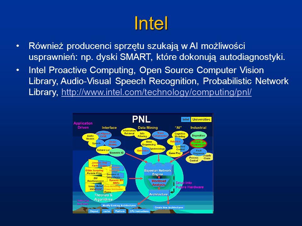 Intel Również producenci sprzętu szukają w AI możliwości usprawnień: np. dyski SMART, które dokonują autodiagnostyki. Intel Proactive Computing, Open