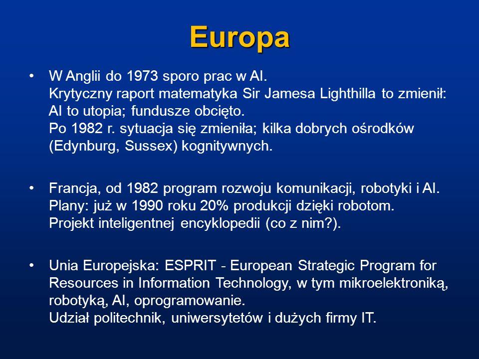 Europa W Anglii do 1973 sporo prac w AI. Krytyczny raport matematyka Sir Jamesa Lighthilla to zmienił: AI to utopia; fundusze obcięto. Po 1982 r. sytu
