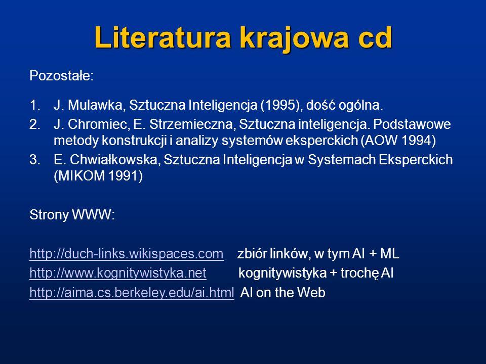 Literatura krajowa cd Pozostałe: 1.J. Mulawka, Sztuczna Inteligencja (1995), dość ogólna. 2.J. Chromiec, E. Strzemieczna, Sztuczna inteligencja. Podst