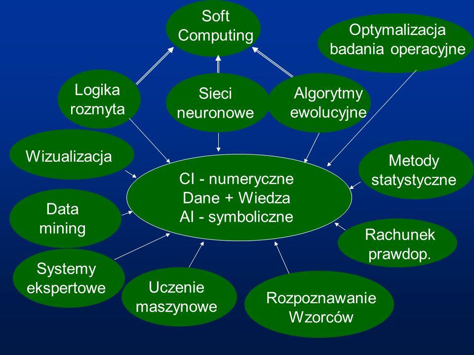 CI - numeryczne Dane + Wiedza AI - symboliczne Soft Computing Sieci neuronowe Rachunek prawdop. Uczenie maszynowe Systemy ekspertowe Rozpoznawanie Wzo