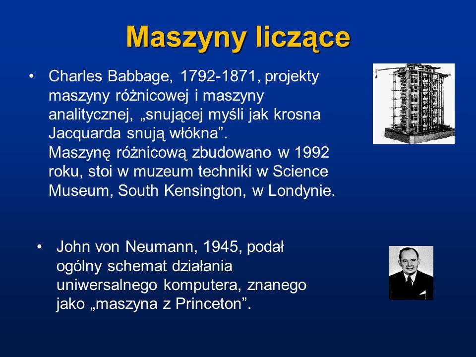 Maszyny liczące Charles Babbage, 1792-1871, projekty maszyny różnicowej i maszyny analitycznej, snującej myśli jak krosna Jacquarda snują włókna. Masz