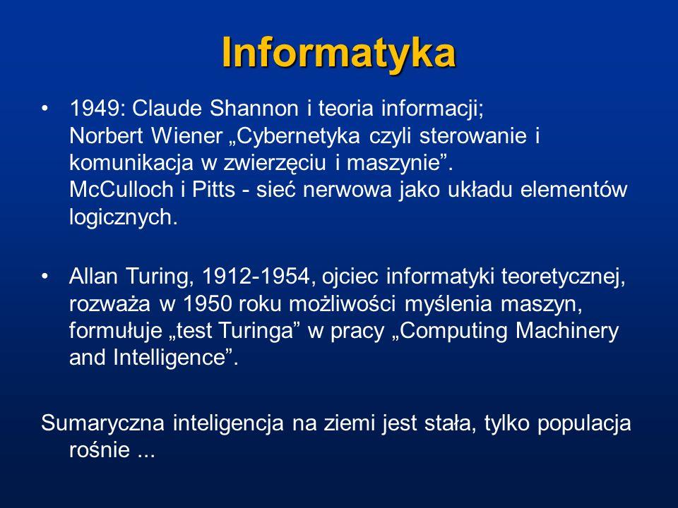 Informatyka 1949: Claude Shannon i teoria informacji; Norbert Wiener Cybernetyka czyli sterowanie i komunikacja w zwierzęciu i maszynie. McCulloch i P