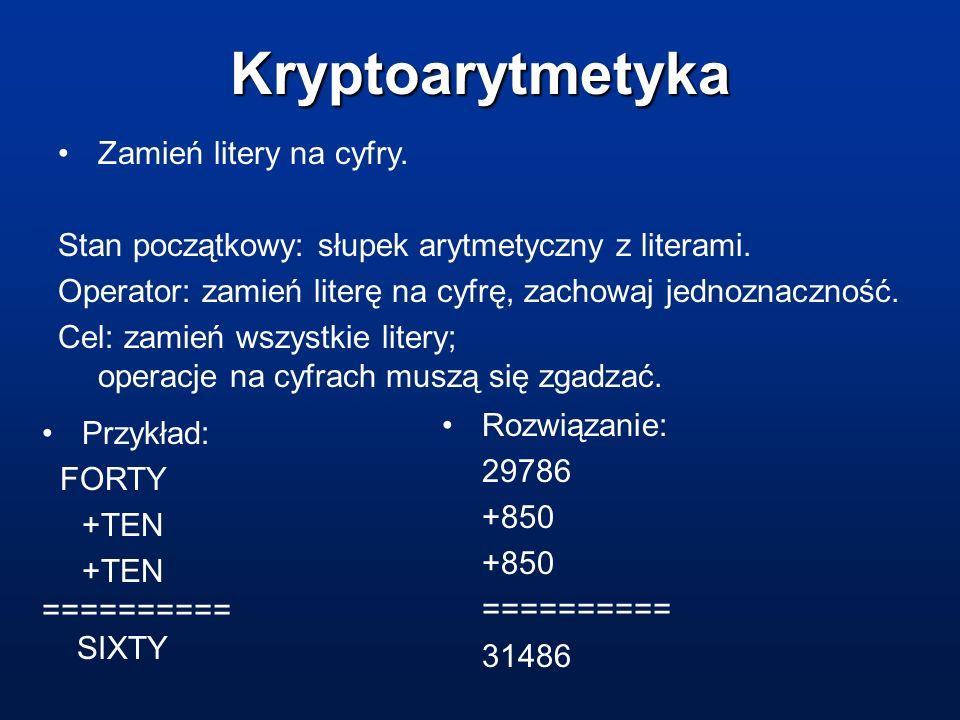Kryptoarytmetyka Zamień litery na cyfry. Stan początkowy: słupek arytmetyczny z literami. Operator: zamień literę na cyfrę, zachowaj jednoznaczność. C