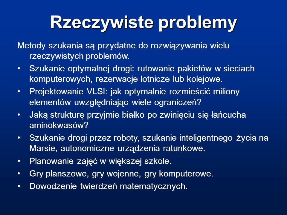 Rzeczywiste problemy Metody szukania są przydatne do rozwiązywania wielu rzeczywistych problemów. Szukanie optymalnej drogi: rutowanie pakietów w siec