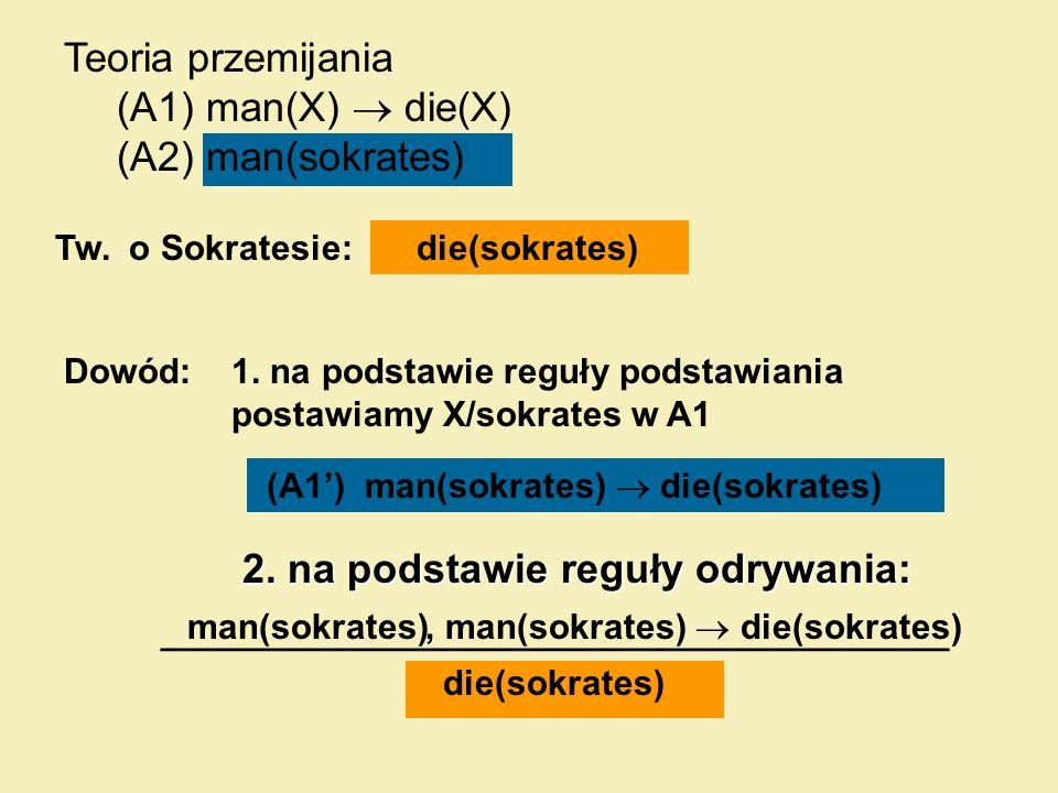 2. na podstawie reguły odrywania: 2. na podstawie reguły odrywania: Dowód: Tw. o Sokratesie:die(sokrates) 1. na podstawie reguły podstawiania postawia