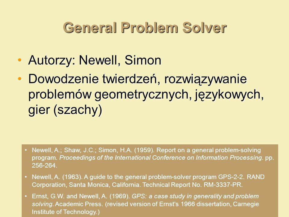 General Problem Solver Autorzy: Newell, SimonAutorzy: Newell, Simon Dowodzenie twierdzeń, rozwiązywanie problemów geometrycznych, językowych, gier (sz