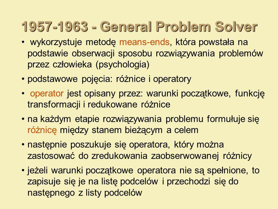 1957-1963 - General Problem Solver wykorzystuje metodę means-ends, która powstała na podstawie obserwacji sposobu rozwiązywania problemów przez człowi