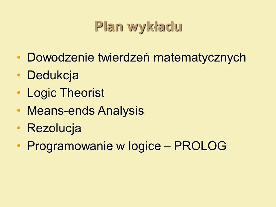 Plan wykładu Dowodzenie twierdzeń matematycznychDowodzenie twierdzeń matematycznych DedukcjaDedukcja Logic TheoristLogic Theorist Means-ends AnalysisM