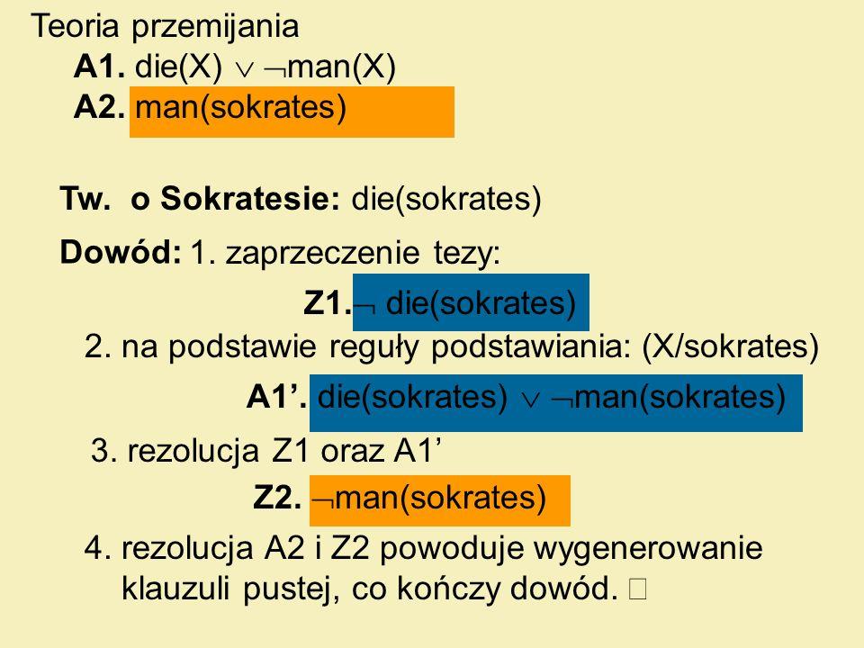 Tw. o Sokratesie: Dowód: 1. zaprzeczenie tezy: 2. na podstawie reguły podstawiania: (X/sokrates) 3. rezolucja Z1 oraz A1 4. rezolucja A2 i Z2 powoduje