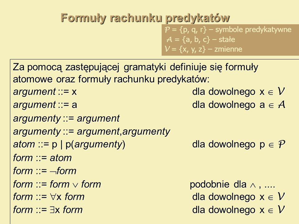 Formuły rachunku predykatów Za pomocą zastępującej gramatyki definiuje się formuły atomowe oraz formuły rachunku predykatów: argument ::= xdla dowolne