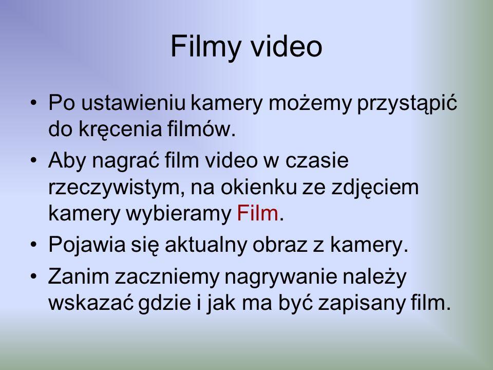 Filmy video Po ustawieniu kamery możemy przystąpić do kręcenia filmów. Aby nagrać film video w czasie rzeczywistym, na okienku ze zdjęciem kamery wybi