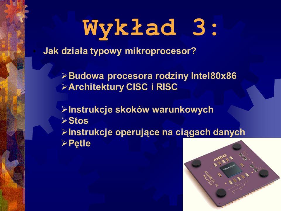 Wykład 3: Jak działa typowy mikroprocesor? Budowa procesora rodziny Intel80x86 Architektury CISC i RISC Instrukcje skoków warunkowych Stos Instrukcje