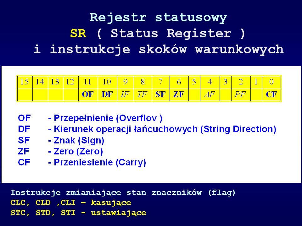 Rejestr statusowy SR ( Status Register ) i instrukcje skoków warunkowych Instrukcje zmianiające stan znaczników (flag) CLC, CLD,CLI – kasujące STC, ST